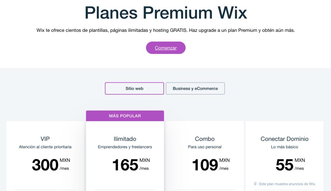 Ejemplo de estrategia de precios freemium: Wix