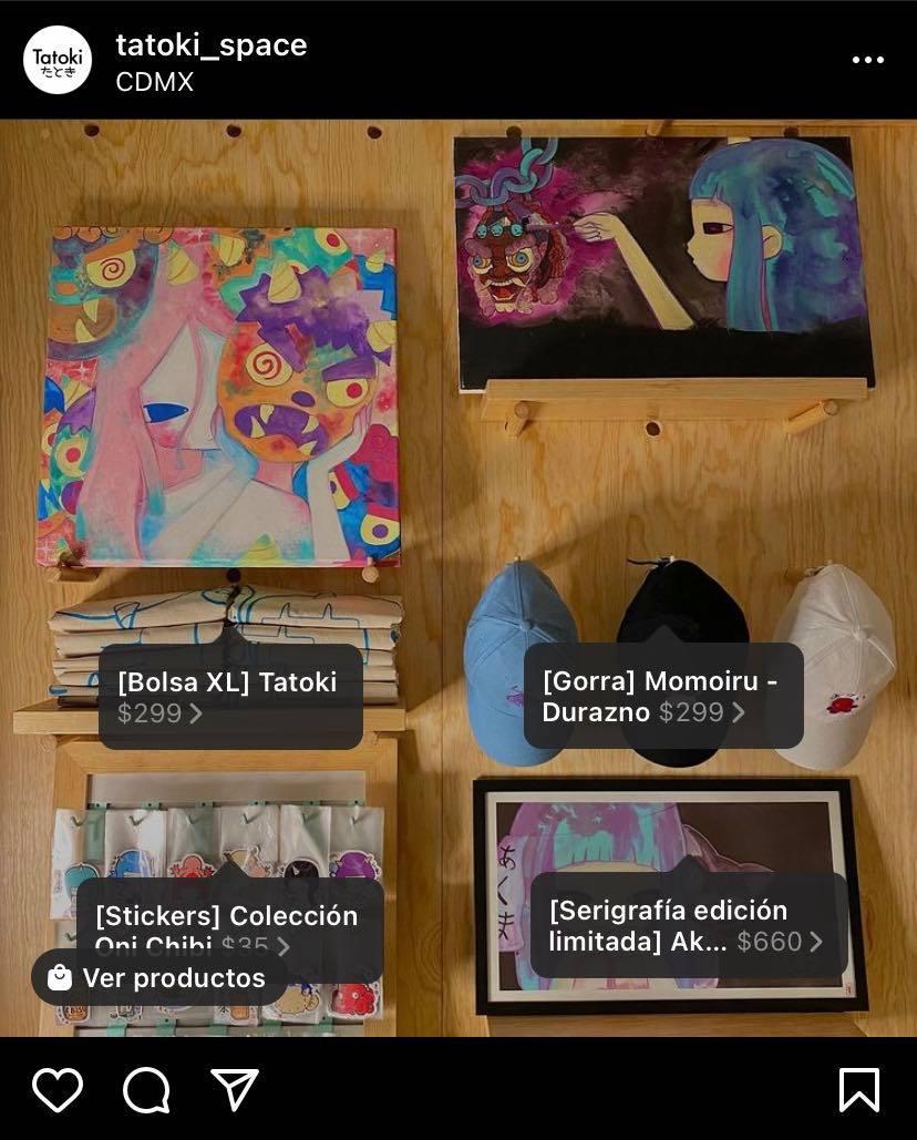 Instagram Shopping: cuenta de tatoki_space