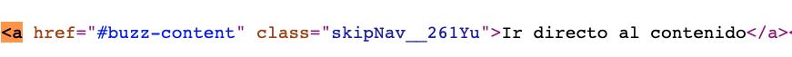 Etiqueta de HTML para enlaces, conocida como a, según el código de una página de Buzzfeed
