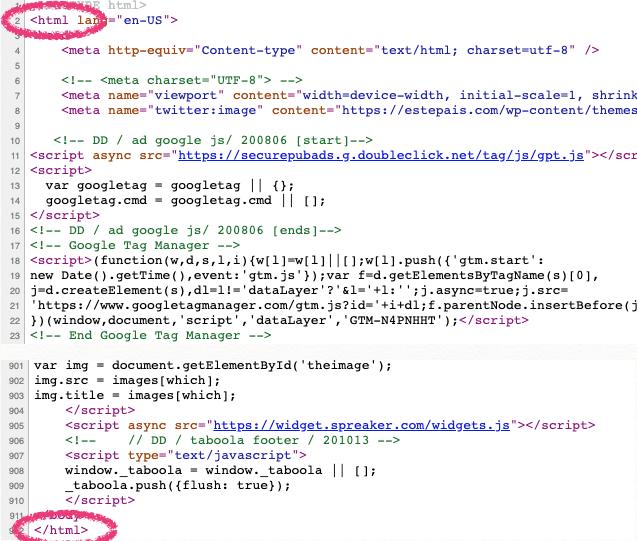 Ejemplo de cómo se inserta la etiqueta  en el código de una página web