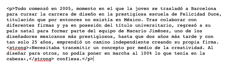 Etiqueta de HTML para párrafo, conocido como p, según el diseño de un artículo del diario El País