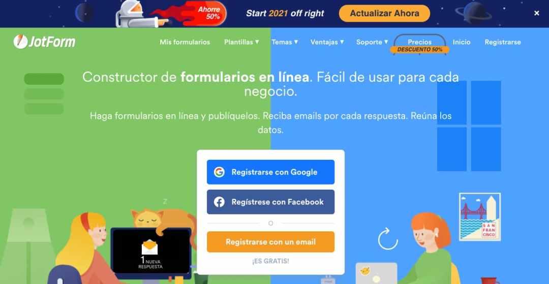 Plantilla de JorForm para creación de formulario de contacto gratuito