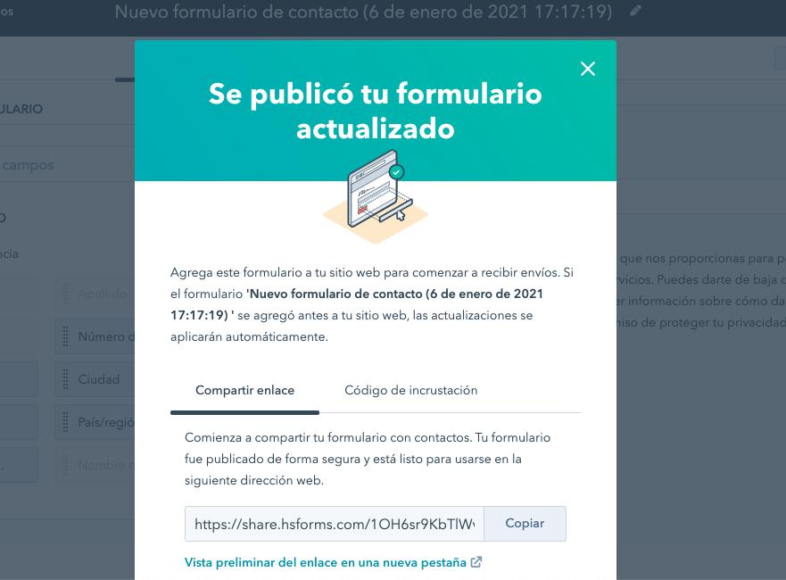 Mensaje de formulario de contacto publicado en HubSpot