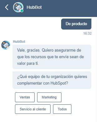 Chatbots optimizados por HubSpot: ejemplo de conversación