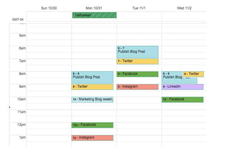 Ejemplo de calendario de contenidos de redes sociales con Google Drive