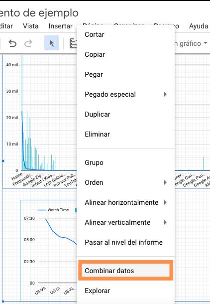 Combinar gráficos en Google Data Studio