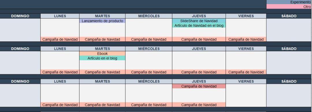 Plantilla de calendario para community managers