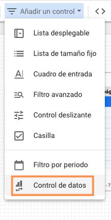 Widget de control de datos