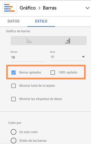 Opciones de gráfico de barras en Google Data Studio