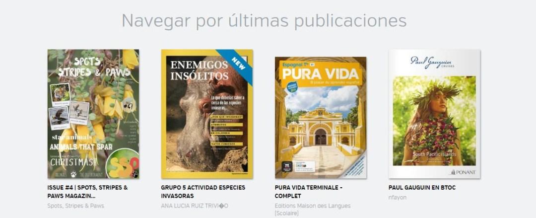 herramienta para realizar revistas: Calameo