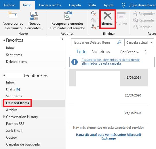 Eliminar definitivamente un correo de Outlook