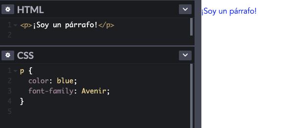 Cómo se escribe un selector dentro de una regla CSS