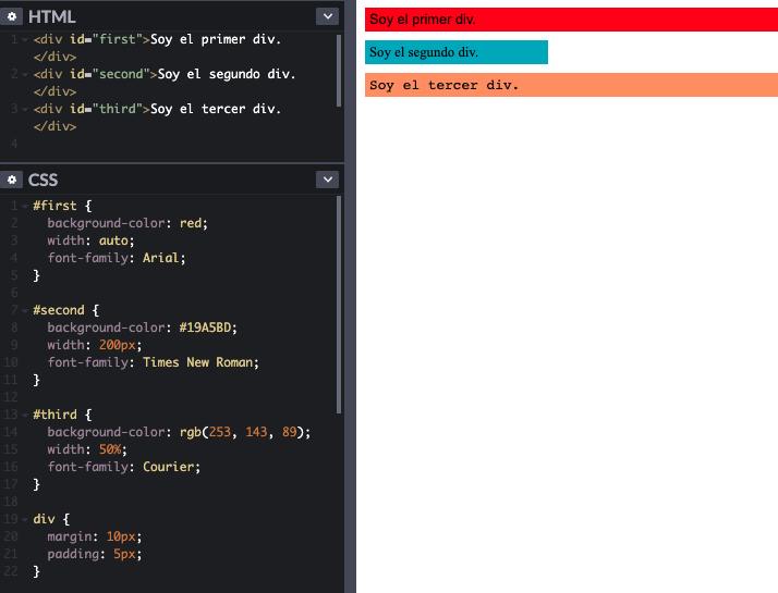 Ejemplo de cómo escribir un valor dentro de una regla CSS