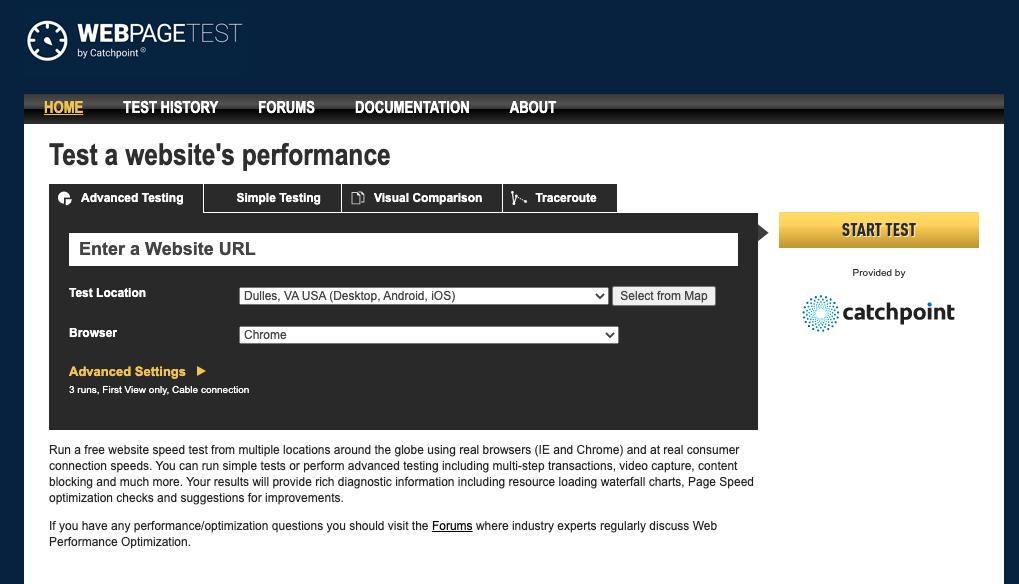 Herramienta para optimizar la velocidad de carga web: WebPageTest