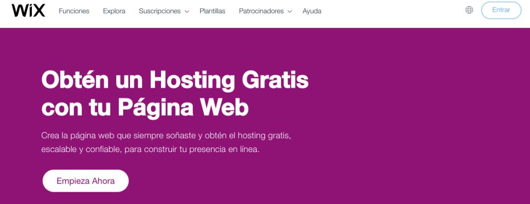 Wix, sitio con servicio de hosting