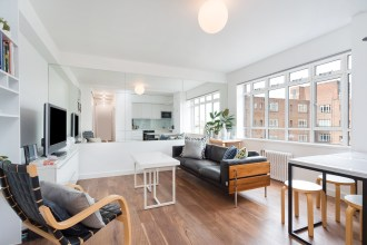 """The perfect example of British Modernism"" two bedroom apartment, University Street, WC1"