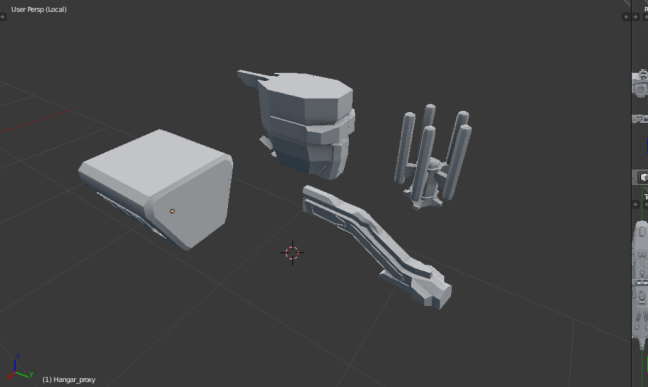 Kitbashing Spaceship : Extra Utilites Placement Example