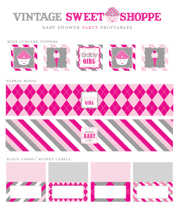 Sweet Shoppe Baby Shower Girl Printables via Mandy's Party Printables