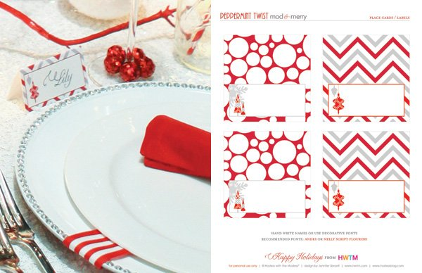 Free Printable Christmas Place Cards Holiday Party Favors At Kid Ss
