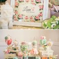 Love is sweet candy buffet with lime marshmallows and assorted