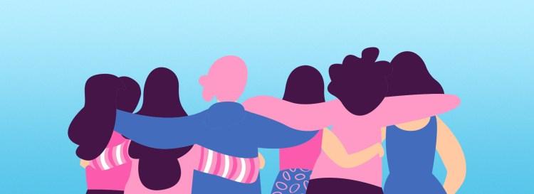 Mulheres unidas pela campanha Outubro Rosa