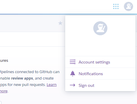 Heroku profile menu