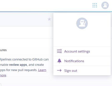 Heroku profile menu
