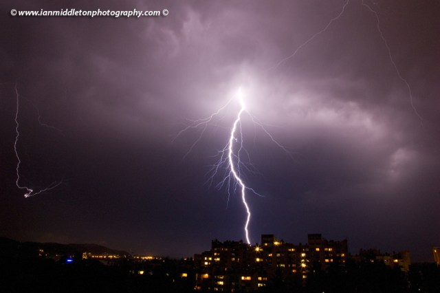 Lightning over residential area of Ljubljana , Slovenia