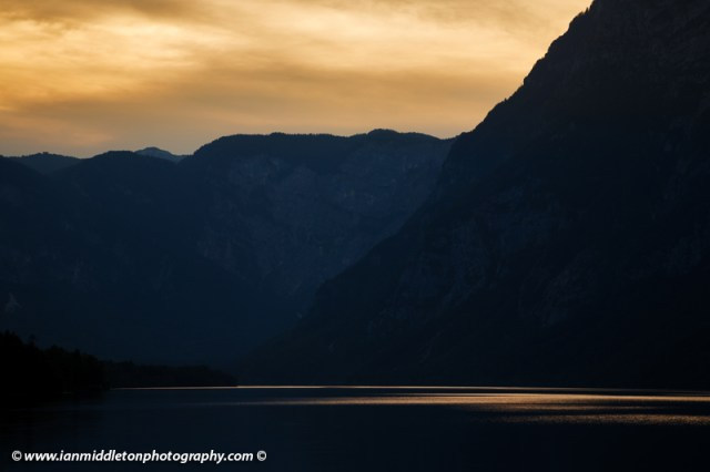 The Julian Alps and Lake Bohinj at sunset, Triglav National Park, Slovenia