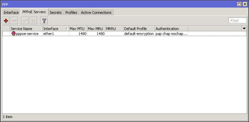 Mikrotik PPPOE Server Tab