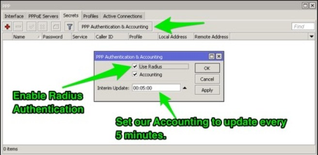 mikrotik radius pppoe authentication & accounting