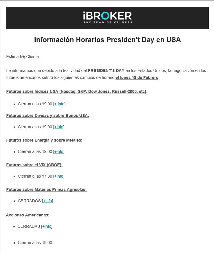 Horarios en los mercados por el Día del Presidente