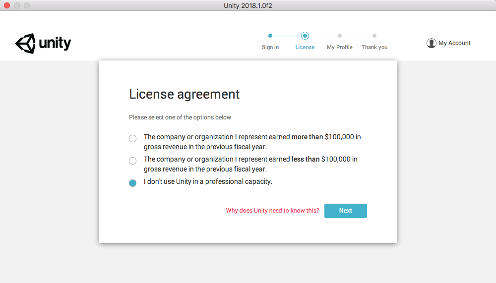 Unity License agreement