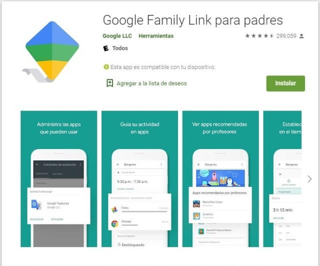 google family link para padre, la app para el control parental de los dispositivos.