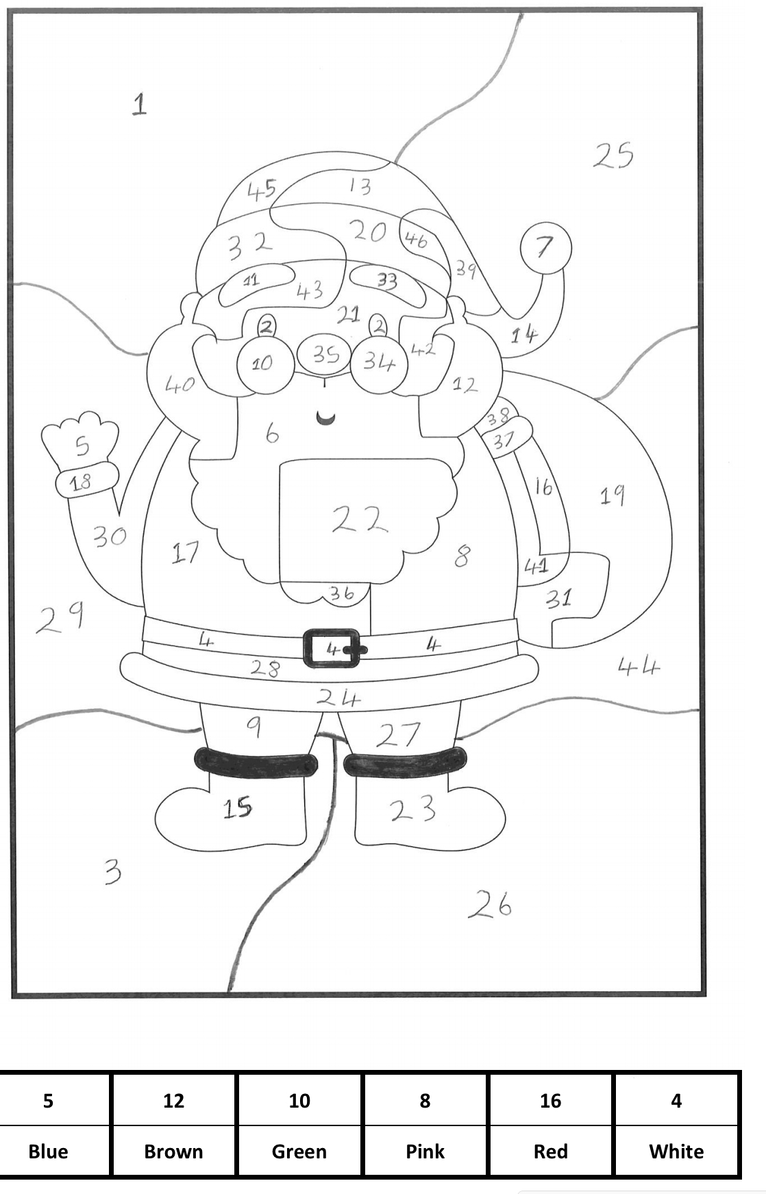 Christmas Calculated Colouring Mathematicsandcoding