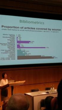 Jennifer Lin of PLOS presents at 1am:London (photo courtesy of Mary Ann Zimmerman)