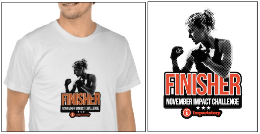 "Screencap of the ""Finisher"" t-shirt, showing a boxer in silhouette with the  words ""Finisher: November Impact Challenge"" on it."