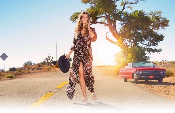Heidi Klum porte tenue hippie chic