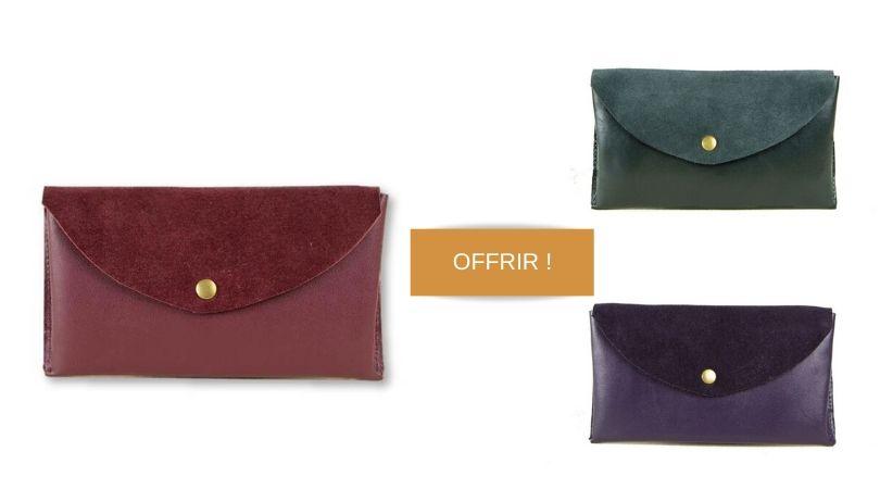 idee cadeau facile portefeuille cuir pour femme inaden
