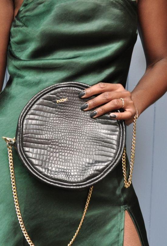 Petit sac rond en cuir croco