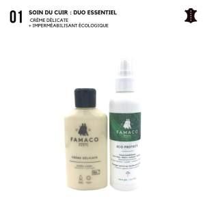 kit entretien spécial pour sac en cuir Imperméabilisant écologique + crème de soin nourrissante