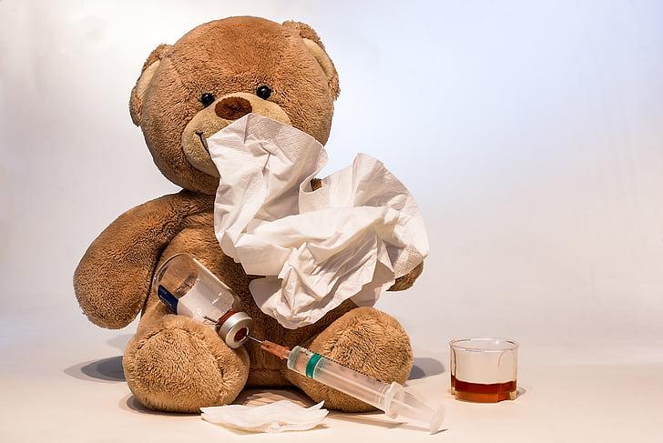 Urso de pelúcia com lenços de papel, uma injeção e um copinho de xarope.