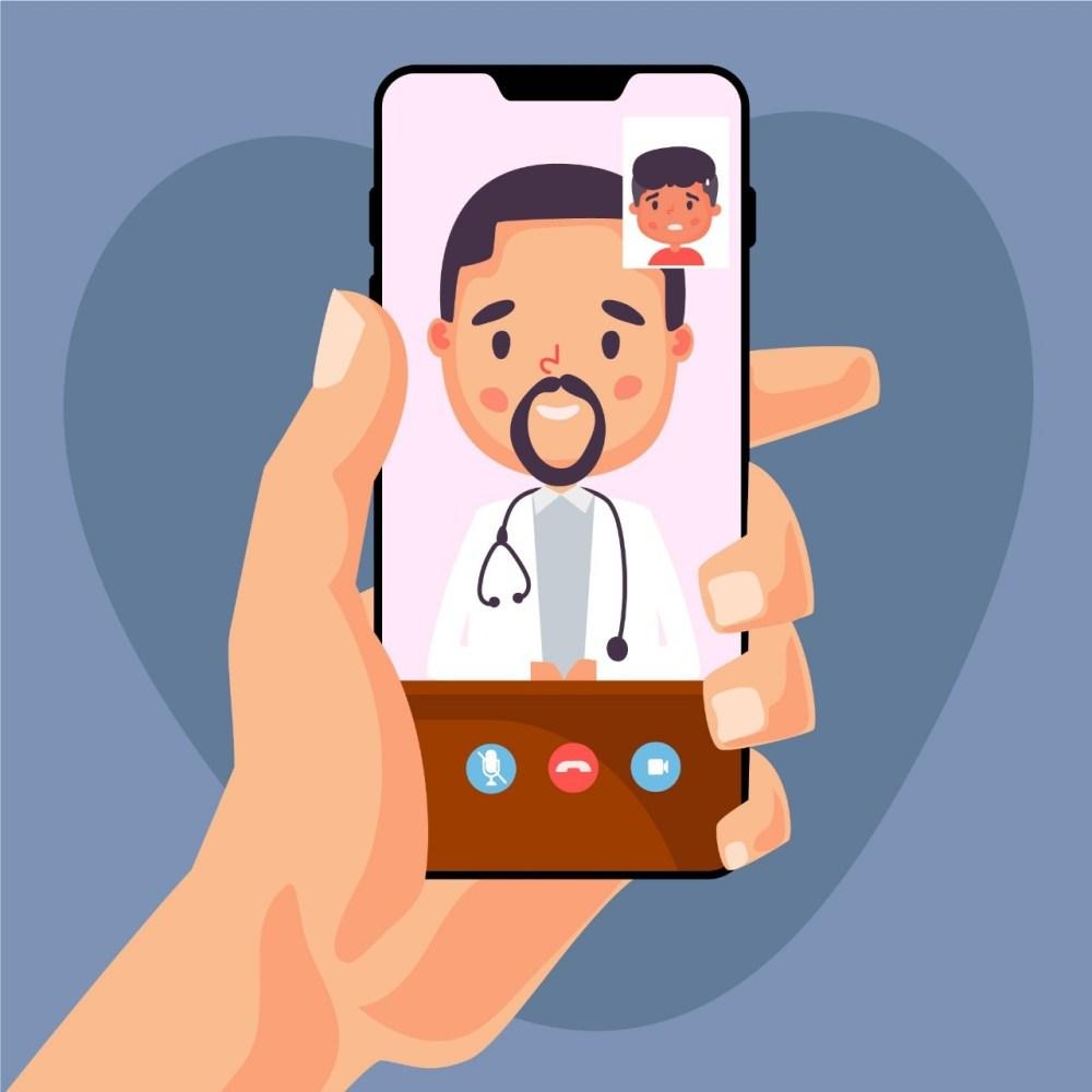 Arte ilustrando a telemedicina online
