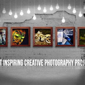 Featured cover image forr the 5 most inspiring creative photography projects on IndieFolio with 5 frames on a white exposed brick wall and suspendded lightbulbs