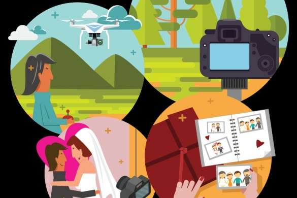 collage of wedding photography shots in vector art style