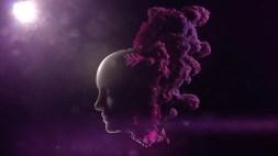 locandina iab forum 2017 raffigurante il volto di un assistente virtuale umanoide