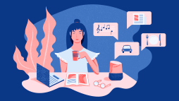 illustrazione raffigurante una ragazza circondata da diverse tipologie di assistenti virtuali