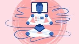 illustrazione di un robot in meditazione, simbolo del calm design