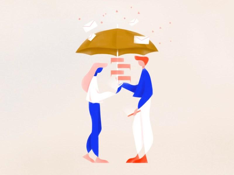 illustrazione raffigurante due persone che dialogano con agenti intelligenti