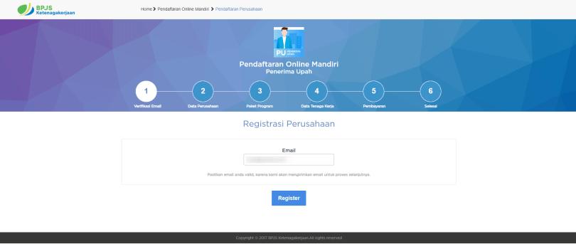 Pendaftaran E-mail Penerima Upah
